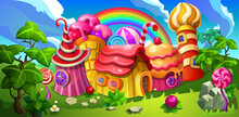 A Fairytale Candy Town. Colorful Houses Made Of Candy, Lollipop, Cake And Marmalade. Background Panorama For Cartoon.