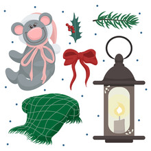 Vector Set Of Cozy Clip Arts With Cute Teddy Bear In Santa Hat, Holly, Plaid, Red Ribbon, Old Fashioned Lantern, Fir Tree Branch
