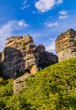 Vertical view of the Holy Monastery of Varlaam in Meteora, Thessaly, Greece built on top of unique rock formations