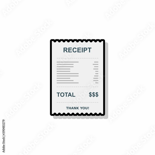 Fototapety, obrazy: Receipt paper, bill check, invoice, cash receipt. Black stroke and shadow design. Isolated icon.