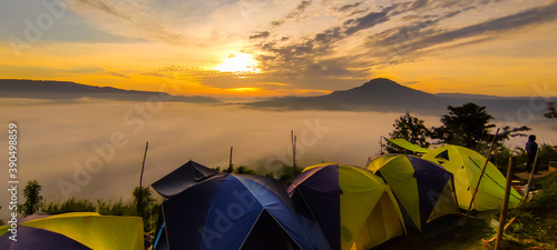 Fotografiet Landscape of sunset and  mountain viewpoint  in Phetchabun province Thailand