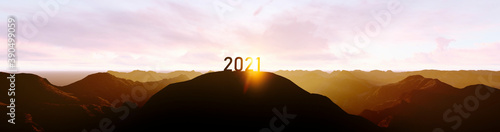silhouette of number 2021 on the mountain, new year celebration concept Fotobehang