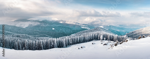 Fantastic winter landscape with snowy trees. Carpathian mountains, Ukraine, Europe. Christmas holiday background. Landscape photography
