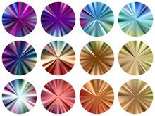 Circular Metallic Gradient Label Elements Vector