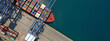 canvas print picture - Aerial top down ultra wide photo of industrial cargo container ship loading in logistics terminal port