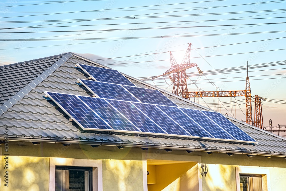 Fototapeta alternative energy background . lots of apartment building with solar panels, green energy