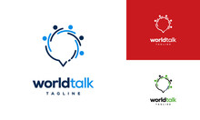 World Forum Logo Designs Concept Vector, World Talk Logo Symbol Designs, Discuss Symbol
