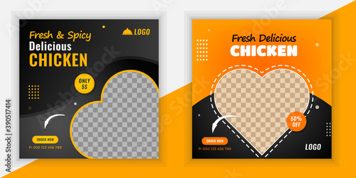 Leinwand Poster Fresh and spicy delicious chicken social media post design template, Fast food s