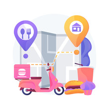 Food Delivery Abstract Concept Vector Illustration. Products Shipping During Coronavirus, Safe Shopping, Self-isolation Servies, Online Order, Stay Home, Social Distancing Abstract Metaphor.