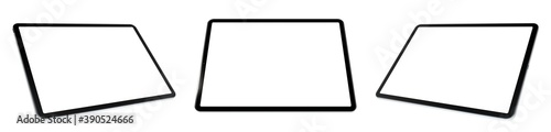 Obraz Empty screen tablet computer mock-up view on white background  - fototapety do salonu