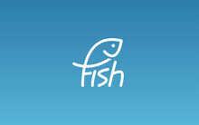 Word Mark Logo Icon Formed Fish Symbol In Letter F In Blue Background