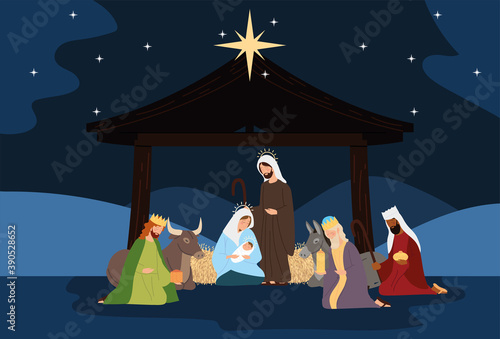 nativity, manger scene holy family wise kings ox donkey in the night Canvas Print