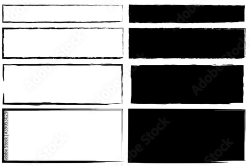 Fotografía Vintage abstract banner with black rectangles on white background