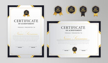 Modern Certificate Best Award And Diploma A4 Template Set With Badge Border