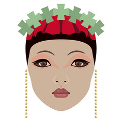 Beautiful stylized female face in fantastic crown. Chinese bride or princess. Flat cartoon style.