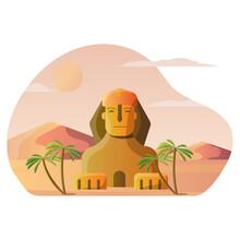 Vector Illustration Design Of Sphinx Historic Buildings, Mainland Giza, Egypt For Tourist Desitination And Landmark