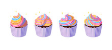 Cupcakes With Swirled Rainbow ...