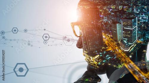 Obraz 人とテクノロジー AI・人工知能 - fototapety do salonu