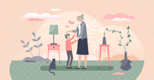 Grandmother With Grandson As Loving Togetherness Time Tiny Person Concept