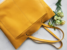 Large Yellow Leather Bag And F...