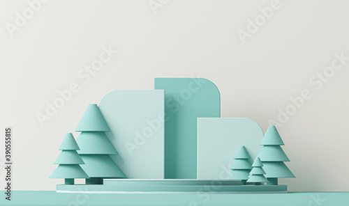 Fototapeta Minimal scene with balls and pine trees, podium. Trendy 3d render for social media banners, promotion, products, stage for christmas holiday winter concept and magazines, poster, banner.  obraz