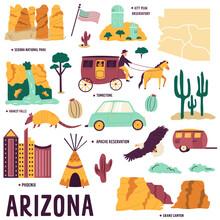 Set Of Symbols, Landmarks, Objects Of Arizona State, USA.