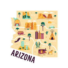 Ilustrated Map Of Arizona State, USA, With Famous Landmarks, Cities