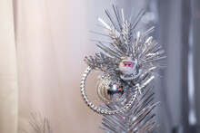Soft Focus Photo Of Christmas Tree Decoration On Branch Of Fir. (shallow Depth Of Field)