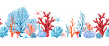 Beautiful Horizontal Seamless Underwater Pattern With Watercolor Starfish And Corals. Stock Illustration.