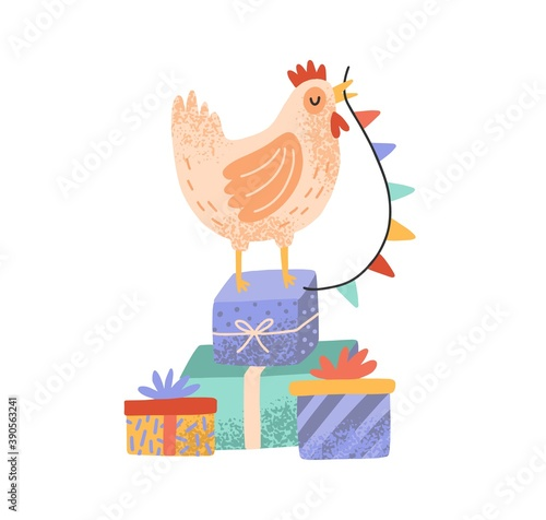 Leinwand Poster Celebratory rooster standing on pile of gift boxes and holding flag garland beak