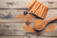 Spoon With Cinnamon Powder And...