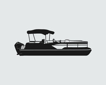 Pontoon Boat Sign Symbol Icon Logo Printable Vector Illustration