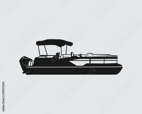 Fototapeta Pontoon Boat Sign Symbol Icon Logo Printable Vector Illustration obraz