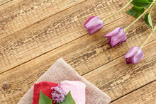 Towels And Lilac Tulip Flowers...