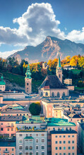 Gorgeous Cityscape Of Salzburg, Old City, Birthplace Of Famed Composer Mozart. Great Autumn Scene Of Eastern Alps. Traveling Concept Background.