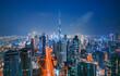 Dubai city center view at sunrise, United Arab Emirates