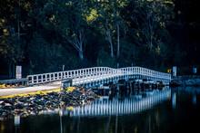 White Wooden Bridge Reflected ...