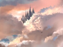European Beautiful Castle And Clouds And Sunset