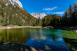 """The famous """"Grüner See / Green lake"""" in the """"Hochschwab"""" mountainrange, Styria, Austria on a clear autumn day"""