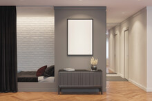 A Room With A Vertical Poster Above A Gray Curbstone With Decor, Next To It Is A Niche With A Bed And A Curtain. There Is A Corridor With A Mirror And A Door In The Background. 3 Render