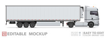 Editable Semi Truck Mockup. Realistick Tractor & Refrigerated Trailer On White Background. Vector Illustration. Collection
