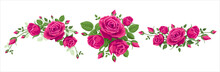 Set Of Bouquet Of Roses. Vector Illustration, 3 Bouquets Of Pink Roses On A White Background With Leaves. Wreath, Garland, Border, Bunch Of Beautiful Flowers. Hot Pink, Burgundy, Ruby Red Colors.