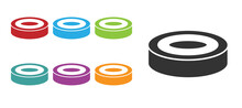 Black Checker Game Chips Icon Isolated On White Background. Set Icons Colorful. Vector.