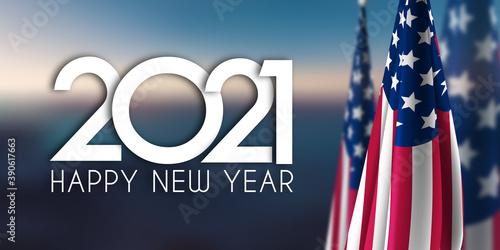 Fototapeta Unbenannt-2 KoHappy new Year 2021 USA Flagpie obraz na płótnie