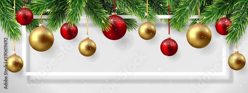 Fotografie, Obraz Christmas and New Year background with fir branches and Christmas balls