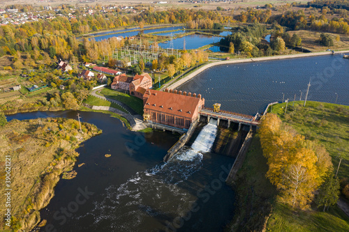 Aerial view of the Pravdinsk HPP, Russia, autumn time