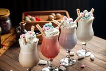 Variety Of Milkshakes With Dif...