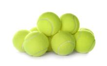 Heap Of Tennis Balls On White Background. Sports Equipment