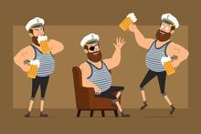 Cartoon Flat Funny Bearded Fat...