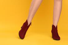 Woman Wearing Stylish Boots On...